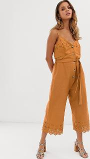 Broderie Jumpsuit With Belt