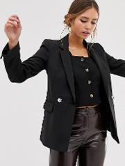 Double Breasted Blazer With Notch Sleeves