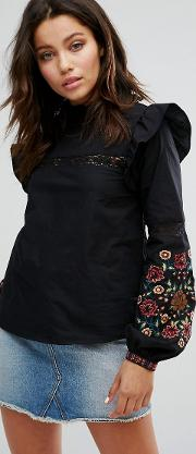 High Neck Embroidered Sleeve Blouse