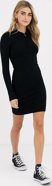 Knitted Mini Dress With Zip