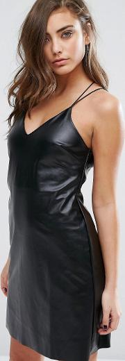 leather look cami dress