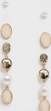 Mixed Gold And Pearl 3 Pack Earrings