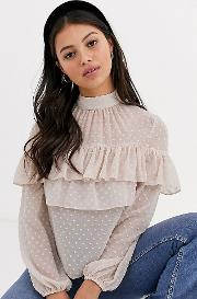Tiered Mesh Blouse