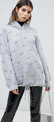 All Over Print Hoodie With Drawstring Detail