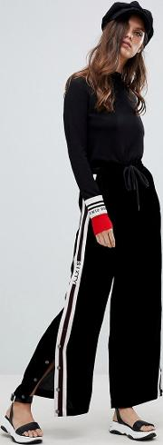 Wide Leg Trouser With Popper And Seam Detail