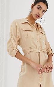 Exclusive Satin Tie Waist Utility Shirt Dress Cream