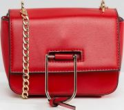 gold clasp chain cross body bag  red