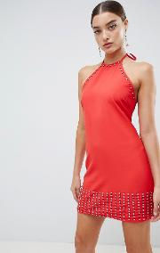 halterneck diamante shift dress