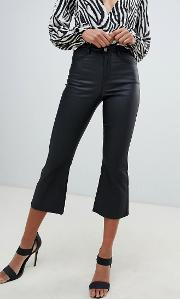 high rise kick flare coated jeans in black