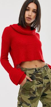 Open Stitch Roll Neck Knitted Jumper