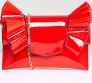 Patent Bow Clutch Bag