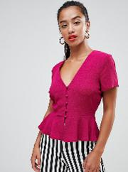 button front peplum blouse in pink