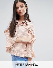 check frill detail blouse