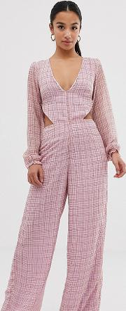 Check Frill Open Back Jumpsuit