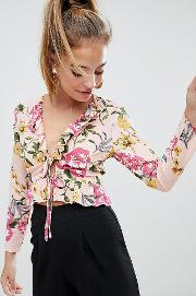 Floral Tie Front Ruffle Blouse