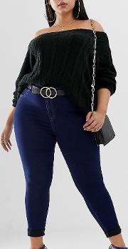 Exclusive Plus High Waisted Skinny Jeans Dark Blue