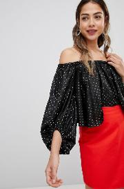 Spotty Bardot Balloon Sleeve Crop Top