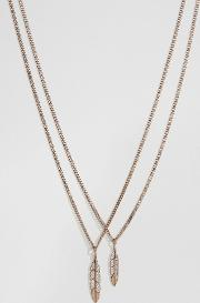 feather necklace in rose gold