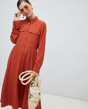 Button Up Midi Dress With Pockets