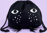 cat face pouch in black