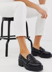 Croc Print Faux Leather Loafers