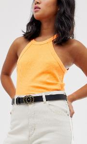 Faux Leather Skinny Belt With Gold Hardware