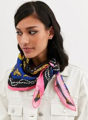 Floral Print Scarf Blue