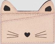 novelty cat face card case in pink