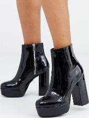 Platform Faux Leather High Heel Boots