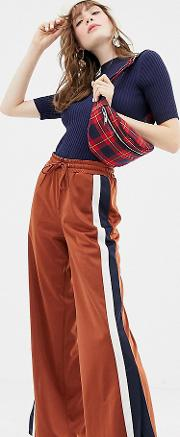 Side Stripe Wide Leg Track Pants