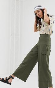 Wide Leg Cargo Trousers With Pockets