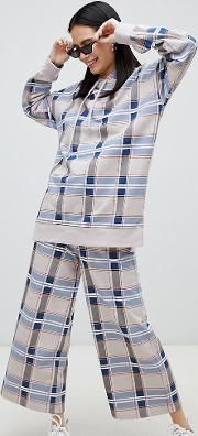 Wide Leg Cropped Checked Trousers