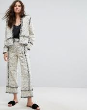 Boucle Frayed Trouser