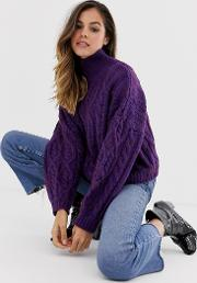 High Neck Chunky Cable Knit Jumper