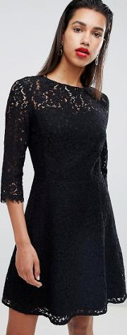 all over lace skater prom dress in black