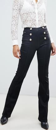 High Waist Flare Jean With Buttons