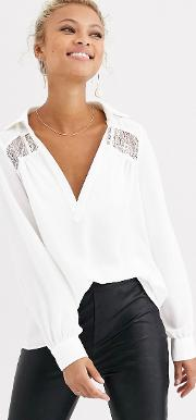 Plunge Front Lace Insert Blouse Ivory