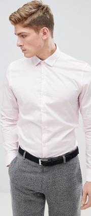 moss london extra slim smart shirt in light pink with stretch