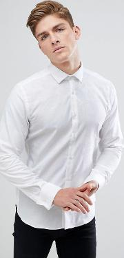 moss london extra slim smart shirt in white with subtle floral print