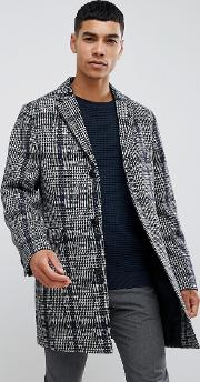 Moss London Overcoat With Prince Of Wales Check