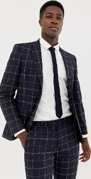 Moss London Skinny Suit Jacket With Windowpane Check