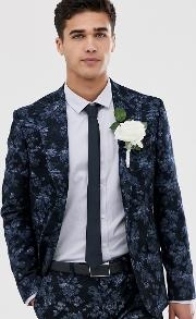 Moss London Slim Fit Suit Jacket With Floral Print Navy