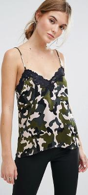 Cami Top In Camo With Lace Trim