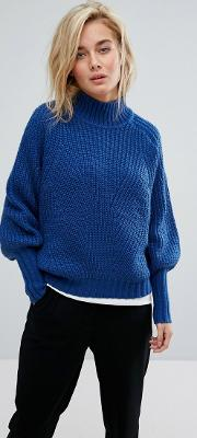 High Neck Jumper With Balloon Sleeves