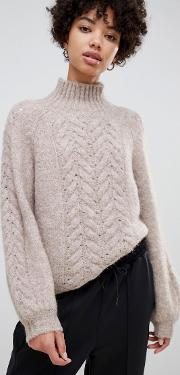 oversized cable knit jumper in alpaca wool blend