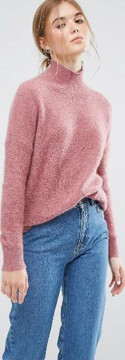 Relaxed Jumper With High Neck