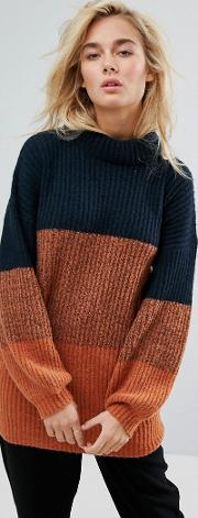 relaxed longline jumper  colour block