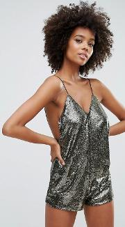 Corsica Playsuit In Gold Stripe Sequins