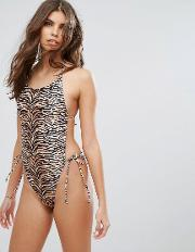 tiger animal print swimsuit brown