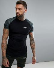 muscle t shirt in black with camo sleeves